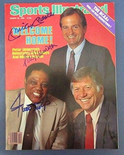 Mickey Mantle/Willie Mays/Peter Uberoth Signed Sports Illustrated JSA Letter