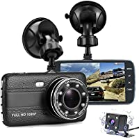Car Dash Cam Night Vision, FANZY 4 HD Screen Dual Cam Video Recorder   FHD 1080P 170° Wide Angle Car Camera Front and Rear with G-sensor, Voice Record , Parking Mode, Loop Recording