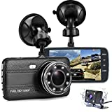 "Cheap Dash Cam Front and Rear, FANZY 4"" HD Screen Dual Cam Blackbox, FHD 1080P 170° Wide Angle Car Camera Recorder with Parking Monitor, Night Vision, G Sensor, Motion Detection, Loop Recording"