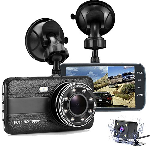 Dash Cam Front and Rear, FANZY 4'' HD Screen Dual Cam Blackbox, FHD 1080P 170° Wide Angle Car Camera Recorder with Parking Monitor, Night Vision, G Sensor, Motion Detection, Loop Recording - Black Box Navigation Interface