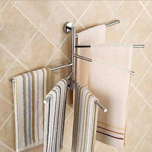 (XMZFQ Swivel Towel Rail Chrome Copper Bath Rack Wall Mounted Towel Rack Holder with 6 Swivel Bars for Kitchen, Bathroom, Toilet)