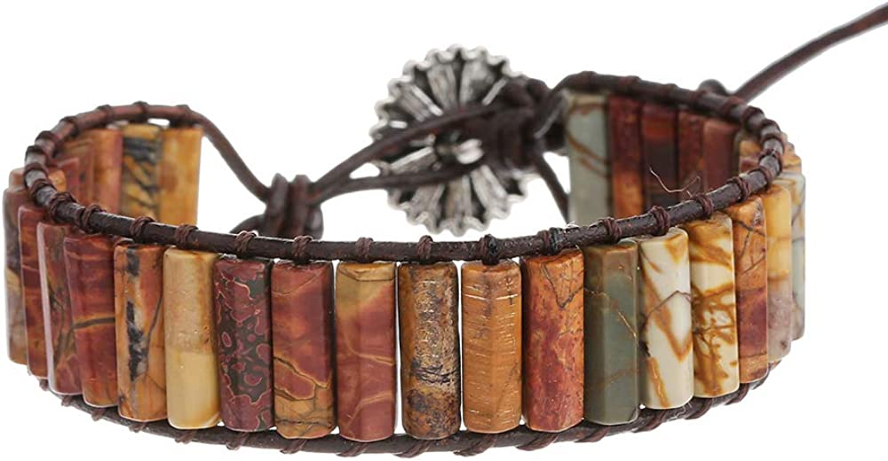 Plumiss Boho Handmade Leather Stone Bead Bracelet Collection