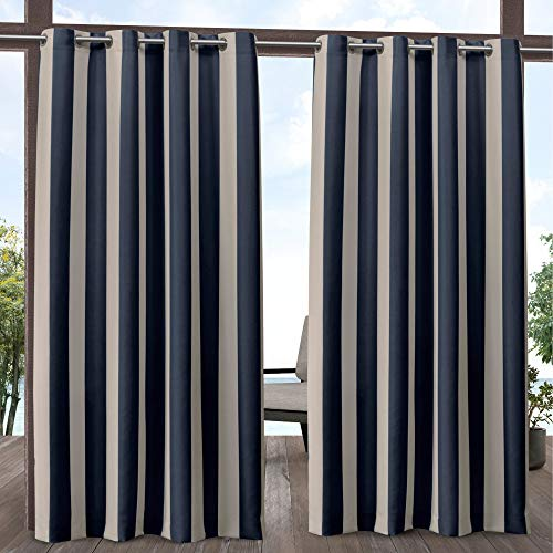 Exclusive Home Curtains Canopy Stripe Panel Pair, 54x108, Navy/Sand Drapes Stripes Silk Drapery