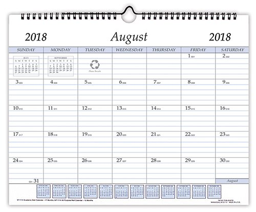 Payne Publishers Academic 11'' by 14'' Wall Calendar Aug 2018 - Dec 2019 (Black)