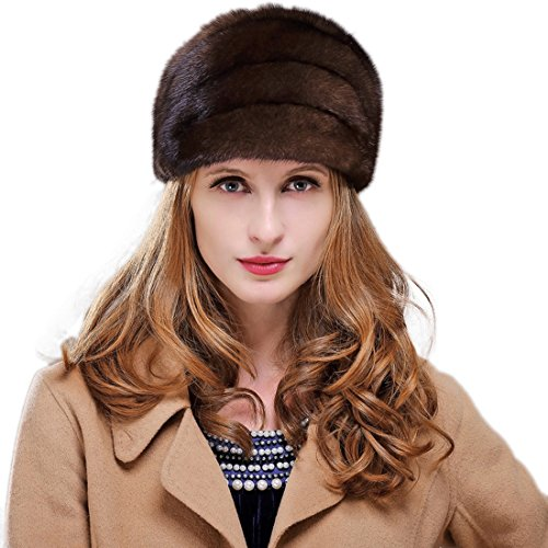 URSFUR Women's Mink Fur Bucket Hats Multicolors (Coffee) by URSFUR