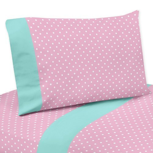 Turquoise Polka Dot (Sweet Jojo Designs 3-Piece Pink Polka Dot and Turquoise Twin Sheet Set for Skylar Bedding Collection)