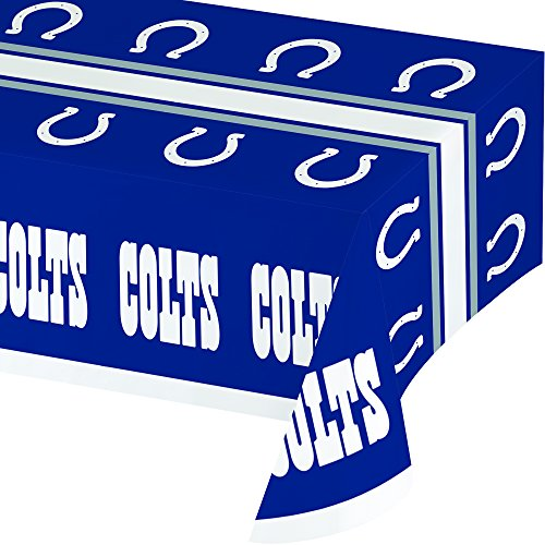 Creative Converting Officially Licensed NFL Plastic Table Cover, 54x102, Indianapolis Colts