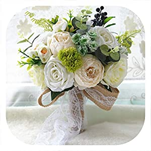 mamamoo Rustic Style Wedding Bouquet Artificial Silk Bridal Bouquet Bridal Ivory Wedding Flower for Wedding Decoration 116