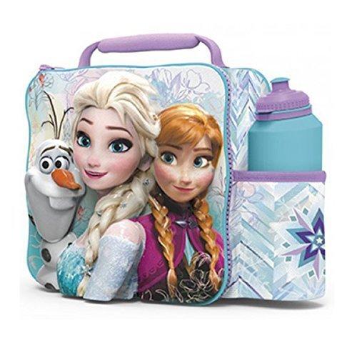 FROZEN Kids Children 3D Lunch Box Bag With Sport Water Bottle (Disney Frozen Lunch Box)