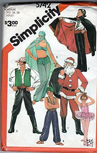 (Simplicity 5742 ©1982 Harem Girl, Vampire, Pirate, Santa, Genie, Ballerina, ADULT Size 36-38)