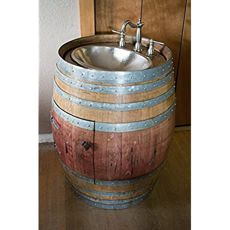 Natural Wine Barrel Vanity With Hammered Nickel Sink Freight Shipping Included