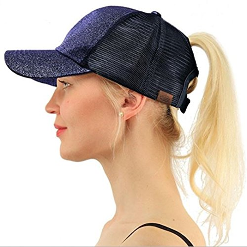Empress High Ponytail Hat Glitter Messy Bun Pull Through Adjustable Mesh Trucker Ponycaps Baseball Plain Visor Cap (Glitter Navy Blue) (Navy Pull)