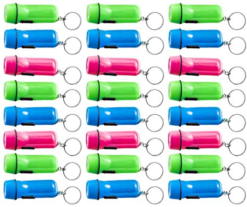 Kicko Mini Flashlight Keychain - 24 Pack Assorted Colors, Green, Light Blue and Pink, Batteries Included - for Kids, Party Favor, Goody Bag Filler, Gift, Prize, Pocket Size, Chain for Key