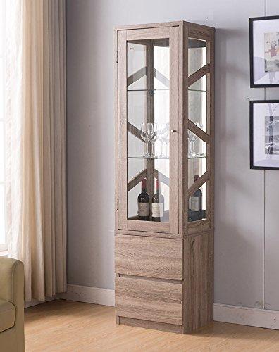 161473 Smart Home Wine Bar Attwell Edition Curio Display (Dark (Wine Curio Cabinet)