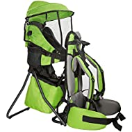 Clevr Cross Country Baby Backpack Hiking Carrier with Stand and Sun Shade Visor Child Kid toddler, Green | Lightweight - 5lbs