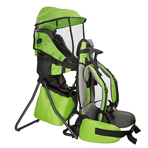 Clevr Cross Country Baby Backpack Hiking Carrier with Stand and Sun Shade Visor Child Kid toddler, Green | Lightweight - ()