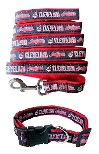 Cleveland Indians Nylon Collar and Matching Leash for Pets (MLB Official by Pets First) Size -