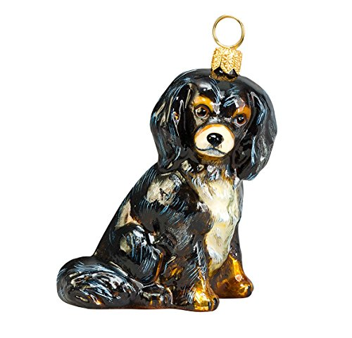 Black and Tan Cavalier King Charles Spaniel Dog Polish Glass Christmas Ornament (Black And Tan King Charles Spaniel)