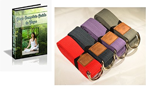 Yoga Strap by DynActive- 10-Foot, 8-Foot, 6-Foot Long, 1.5 Inch Wide, Durable Thick Organic Cotton,, Free