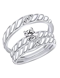 White Natural Diamond Wedding Trio Band Ring Set In 10k Solid Gold (0.04 Cttw)
