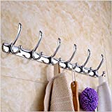 22'' Wall Mounted Coat Rack,  Heavy Duty Hanging Mount Clothes Hat  Hanger With 6 Hooks,  Stainless Steel Hangers Racks Key Towel Coats,  Easy to Install Decorative Home Storage, For Bathroom,  Kitchen