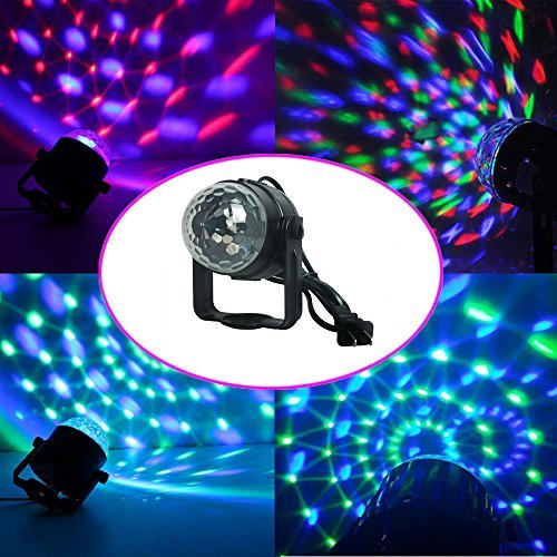 Amazon #LightningDeal 98% claimed: ALED LIGHT 3W 220V Outlet Led RGB DJ Stage Light Bulb Light Atmosphere Music Sound Control Rotary Crystal Ball for Disco / Dance / Party / Bar / Club / Birthday