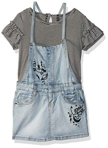 Jessica Simpson Baby Girls Bodysuit and Denim Coverall Set, Light wash, 12M