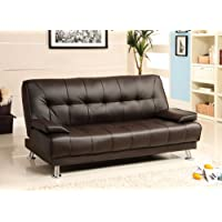 Furniture of America Parrington Leatherette Futon Sofa, Dark Brown Finish