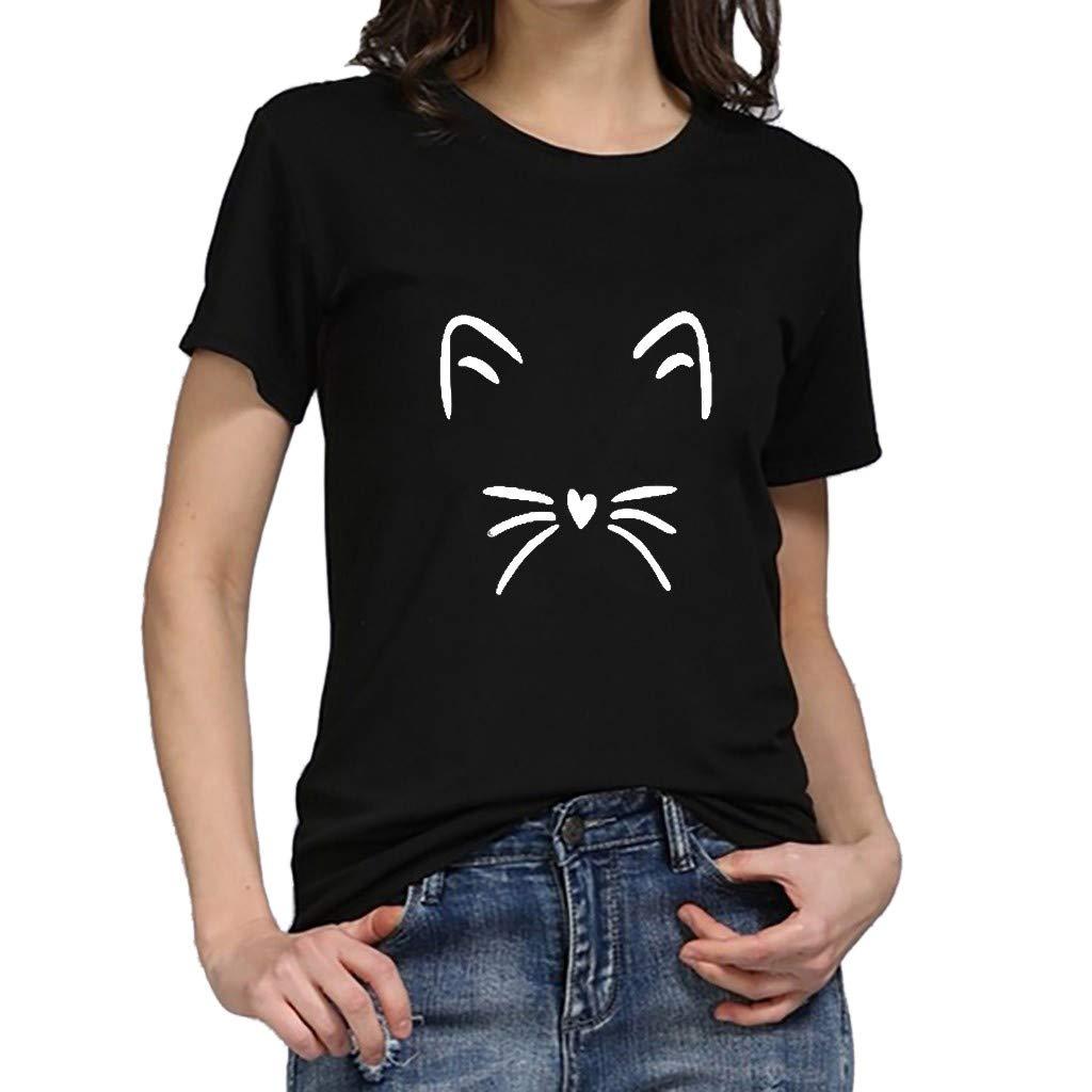 Duseedik Women Summer Tops Plus Size T-Shirt O-Neck Girl Summer Casual Crewneck Print Tank Tops T-Shirt Black