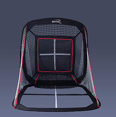 Spornia Baseball/Softball Pitching & Hitting Net (5′ x 5′) with Strike-Zone Sock Net Target, and Pro Pitching Target Box