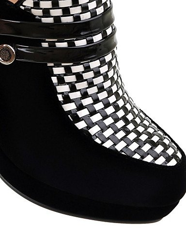 Cn38 Eu38 La us7 Mode Arrondi bureau Femme À 5 Bottes bout amp; Habillé Xzz similicuir Talon bottes gros 5 Travail noir Black Uk5 Chaussures Décontracté qF1wnS