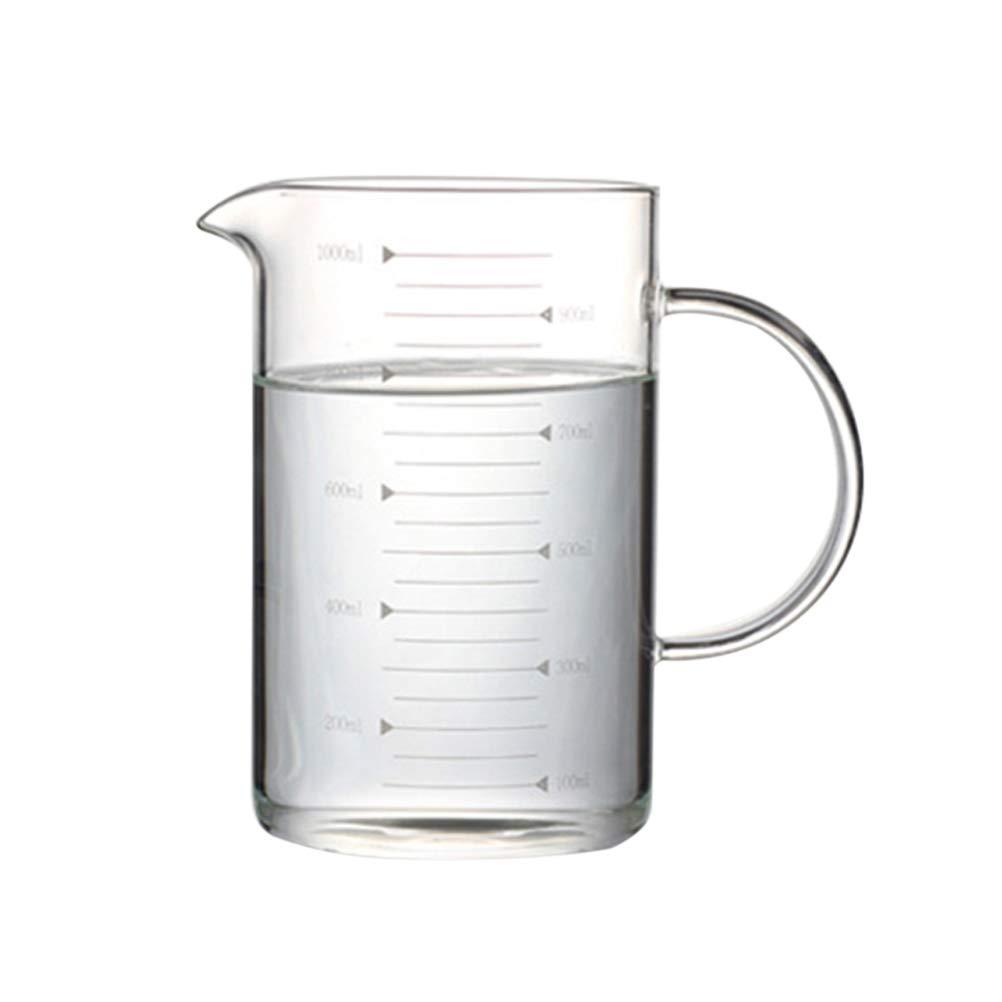 BESTONZON Misurino resistente al calore per caffè in vetro borosilicato 1000ML con linea di misure e coperchio in bambù per casa e cucina