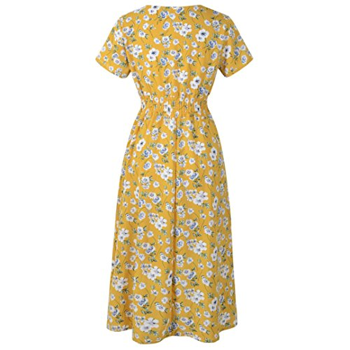 Dress Femme Jaune Manches Robe Women Hehem Courtes XUBqwx568