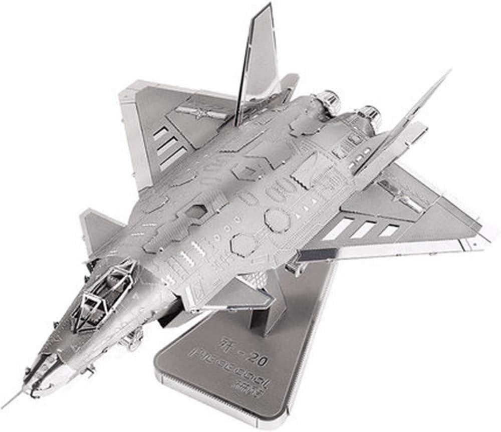 Creatividad de los niños Modelo de Metal estéreo 3D J20 Bombardeo de Aviones Ensamblar Modelo de avión Modelo Militar Decoración Festival práctico conmemorar el Regalo 16 * 11.5 * 8.5 CM: Amazon.es: Juguetes y juegos