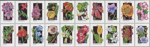 #2696a WILDFLOWERS ~ BLOCK OF 20 STAMPS AS PICTURED ~ Round-Loped Hepatica, Wild Columbine, Fireweed, Indian Pond Lily, Turk's Cap Lily, Dutchman's Breeches. Trumpet Honeysuckle, Jacob's Ladder, Plains Prickly Pear, Moss Campion, (Indian Lily)