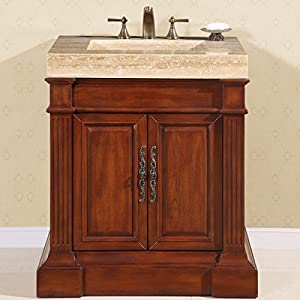 Silkroad Exclusive Travertine Stone Single Ramp Sink Bathroom Vanity With  Bath Furniture Cabinet, 32.5 Inch