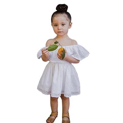 ☀Robe de princesse de regard,Mounter Enfant bébé filles enfants mignon floral [off-shoulder] robe de plein-épaule 12Mois-4Ans, Manches courtes