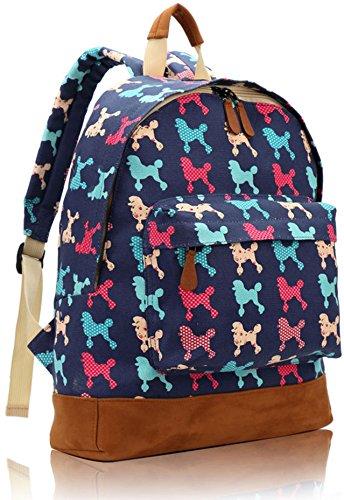 Kukubird Multi Rucksack Dachsund Scotty Poodle Dog Design Single Pocket Backpack - POODLE DARK BLUE (Poodle Backpack)