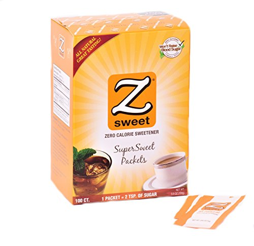 Zsweet All Natural Zero Calorie Sweetener - Non-GMO, Gluten-Free, No Glycemic Impact Erythritol Sugar Alternative - Perfect For Diabetic, Keto, Atkins, Paleo, and Low-Carb Diets (Packets)