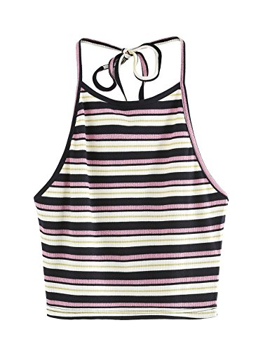 Romwe Women's Ribbed Striped Halter Open Back Crop Top Self Tie Vest Cami #Multicolor ()