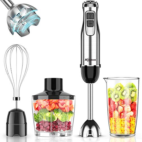 Immersion Blender Handheld, Makoloce 800W 12-Speed 4-in-1 Stick Hand Blender with 500ml Food Grinder, 600ml Container, Egg Whisk for Puree Infant Food, Smoothies, Sauces and Soups