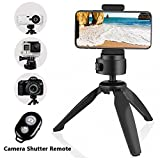 Heavy Duty Tripod - UBeesize Phone and Camera Tabletop Mini Tripod with Cell Phone Clip Holder for iPhone - Smartphones - Gopro - Webcams - Compact Cameras and DSLRs