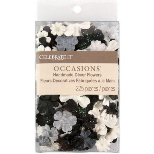 Celebrate It Handmade Paper Flower Confetti 225/Pkg-Black, White & Gray Mix (Scrapbooking Confetti)