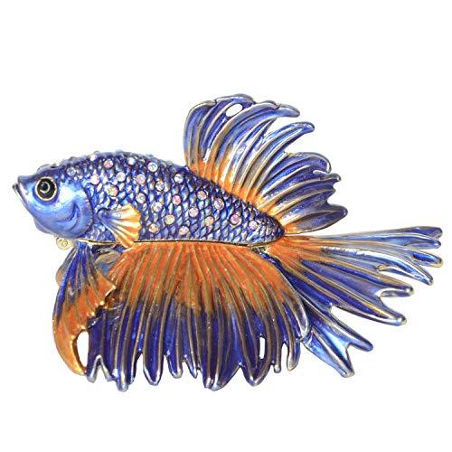 Minihouse Fish Trinket Jewelry Boxes & Organizer Nautical Decoration Gift Metal Tabletop (Crowntail Beta Fish)