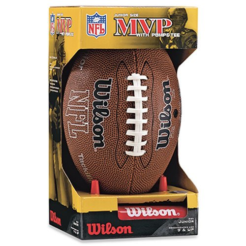 Wilson NFL MVP Junior Football with Pump and Tee, Brown