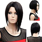 YX Black Short Bob Wig For Black Women Synthetic Hair Wigs with Long Irregular Bangs Anime Cosplay Wigs Party Wigs(Black) 35cm 14