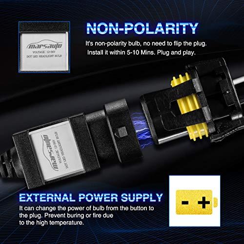 Marsauto 9006 HB4 Led Headlight Bulbs Fanless,M1 Series Low Beam//Fog Light CSP Chips 6000K Xenon White 2-Pack