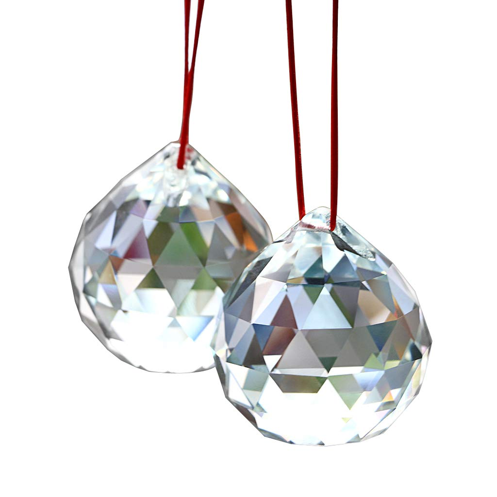 OwnMy Suncatcher Prism Ball 2 Inch - Hanging Crystal Ball Prism Faceted Chandelier Ball Rainbow Maker for Window/Wedding/Car/Decor (Pack of 2)