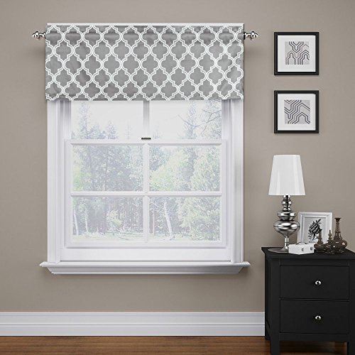FlamingoP Quatrefoil Gray Valance Curtain Extra Wide and Short Window Treatment for for Kitchen Living Dining Room Bathroom Kids Girl Baby Nursery Bedroom 52