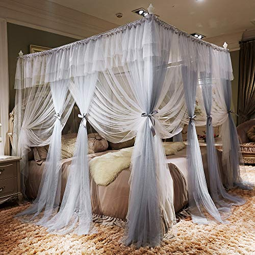 JQWUPUP Color Gradient Bed Canopy Curtains, Ruffle Princess 4 Corner Post Mosquito Net, Romantic Bed Canopy for Girls Kids Toddlers Crib, Bedding Décor (California King, Grey) California Kids Canopy Crib